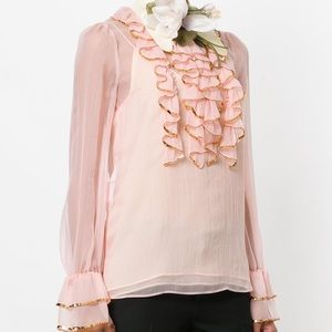 Gucci sheer sequin trimmed ruffle blouse